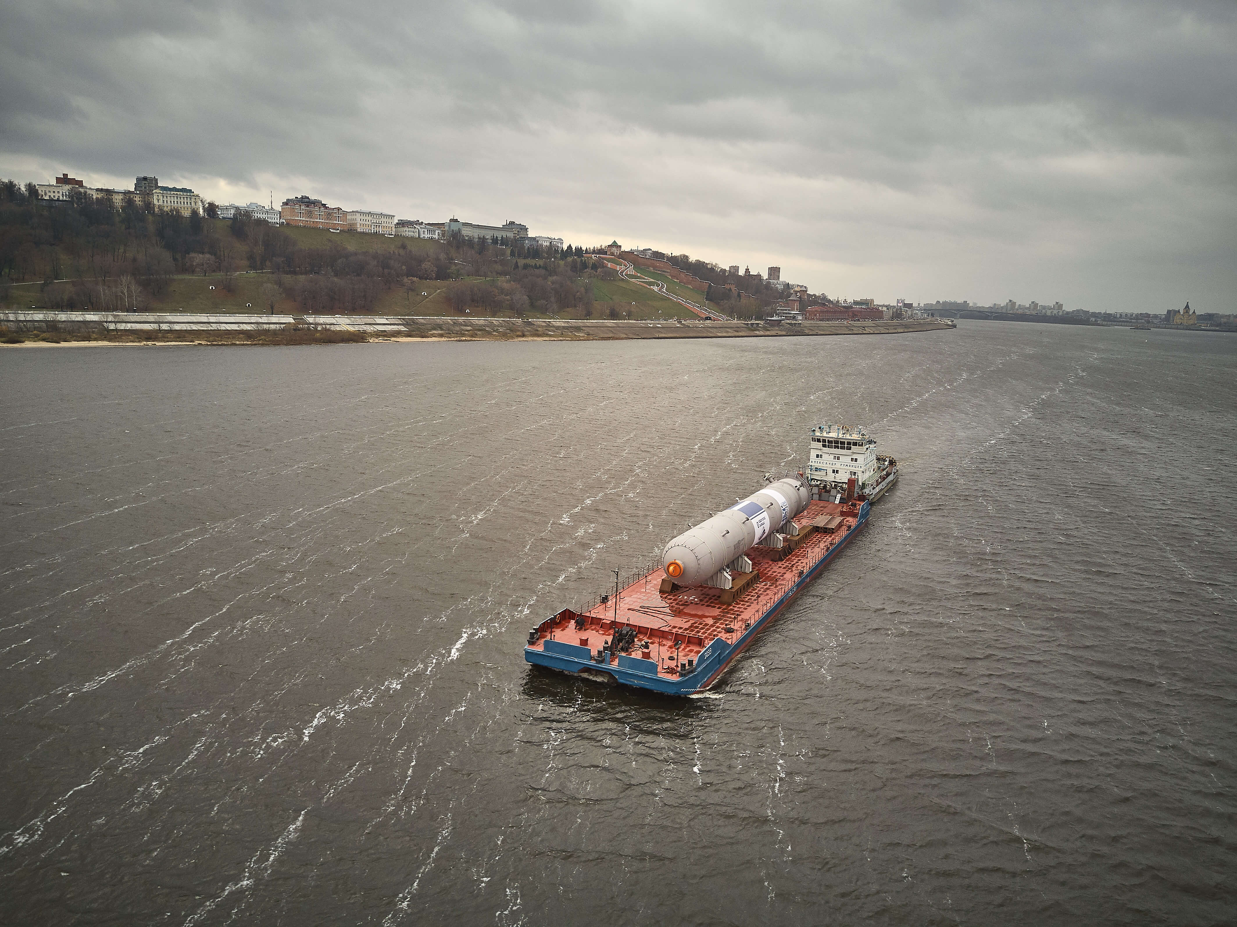Transportation of the reactor to Nizhnekamsk